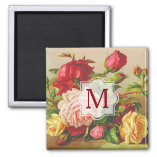 Monogram Vintage Victorian Roses Bouquet Flowers Magnet