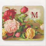 """Monogram Vintage Victorian Roses Bouquet Flowers Mouse Pad<br><div class=""""desc"""">A late 19th-century illustration of beautiful roses in red, pink and yellow serve as background for your monogram. Replace the sample text with your own initial for a personalized design. Makes a wonderful gift for anyone who enjoys vintage art, roses, nature, botanical themes, Victorian floral illustrations, gardening, bouquet gifts, flower...</div>"""