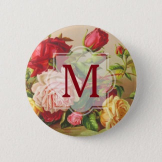 Monogram Vintage Victorian Roses Bouquet Flowers Pinback Button