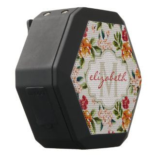 Monogram Vintage Victorian Watercolor Floral Black Bluetooth Speaker