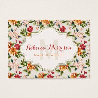 Monogram Vintage Victorian Watercolor Floral Business Card
