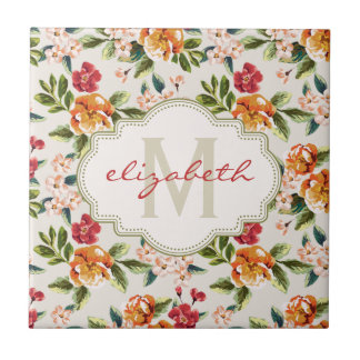 Monogram Vintage Victorian Watercolor Floral Ceramic Tile
