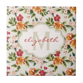 Monogram Vintage Victorian Watercolor Floral Ceramic Tile