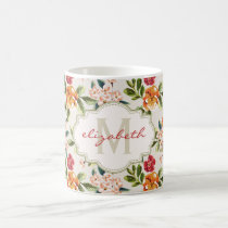 Monogram Vintage Victorian Watercolor Floral Coffee Mug