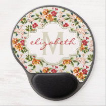 Monogram Vintage Victorian Watercolor Floral Gel Mouse Pad