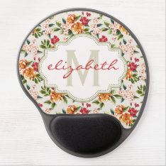 Monogram Vintage Victorian Watercolor Floral Gel Mouse Pad at Zazzle