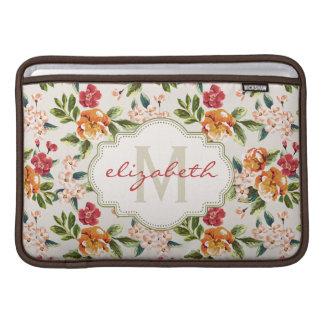 Monogram Vintage Victorian Watercolor Floral MacBook Sleeve