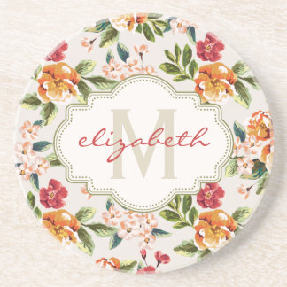 Monogram Vintage Victorian Watercolor Floral Sandstone Coaster