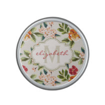 Monogram Vintage Victorian Watercolor Floral Speaker