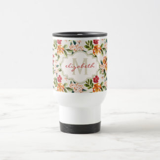 Monogram Vintage Victorian Watercolor Floral Travel Mug