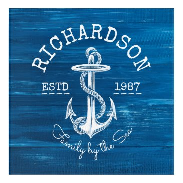 Beach Themed Monogram Vintage White Anchor Blue Painted Wood Acrylic Wall Art