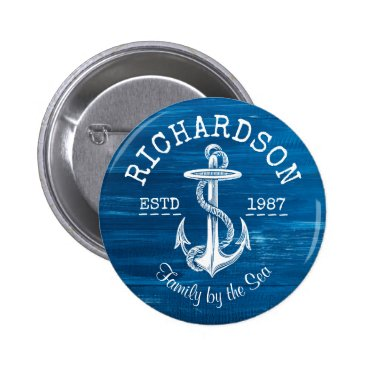 Monogram Vintage White Anchor Blue Painted Wood Button
