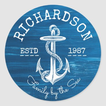 Beach Themed Monogram Vintage White Anchor Blue Painted Wood Classic Round Sticker