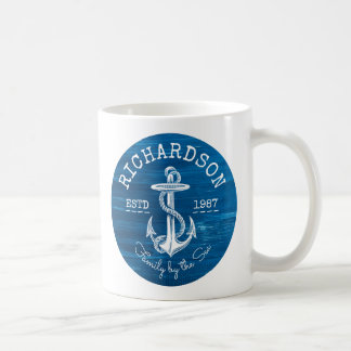 Monogram Vintage White Anchor Blue Painted Wood Coffee Mug