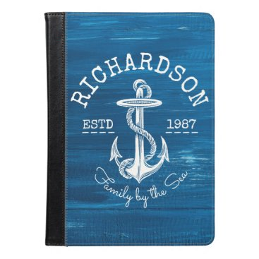 Beach Themed Monogram Vintage White Anchor Blue Painted Wood iPad Air Case
