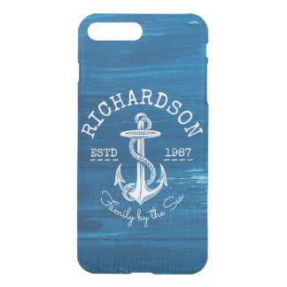 Monogram Vintage White Anchor Blue Painted Wood iPhone 8 Plus/7 Plus Case