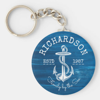 Monogram Vintage White Anchor Blue Painted Wood Keychain