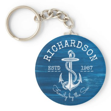 Beach Themed Monogram Vintage White Anchor Blue Painted Wood Keychain