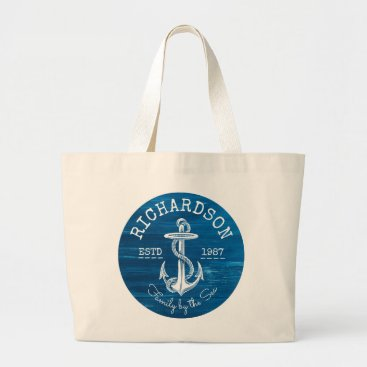 Beach Themed Monogram Vintage White Anchor Blue Painted Wood Large Tote Bag
