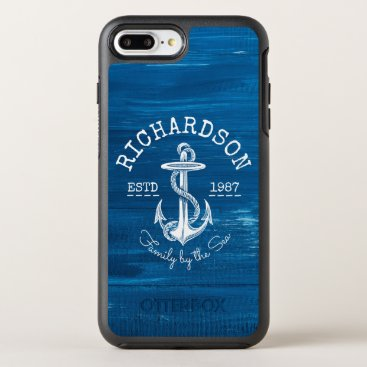 Beach Themed Monogram Vintage White Anchor Blue Painted Wood OtterBox Symmetry iPhone 7 Plus Case
