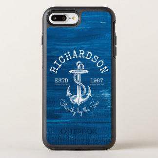 Monogram Vintage White Anchor Blue Painted Wood OtterBox Symmetry iPhone 8 Plus/7 Plus Case