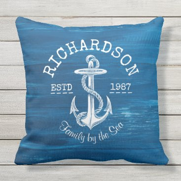 Beach Themed Monogram Vintage White Anchor Blue Painted Wood Outdoor Pillow