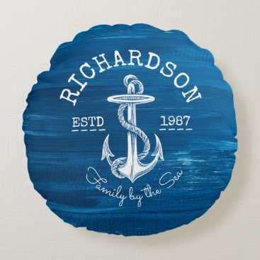Beach Themed Monogram Vintage White Anchor Blue Painted Wood Round Pillow