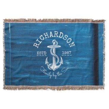 Beach Themed Monogram Vintage White Anchor Blue Painted Wood Throw