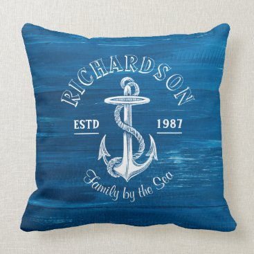 Beach Themed Monogram Vintage White Anchor Blue Painted Wood Throw Pillow