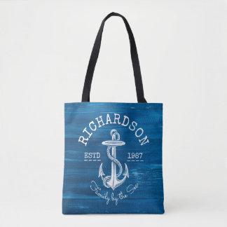 Monogram Vintage White Anchor Blue Painted Wood Tote Bag
