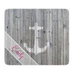 Monogram Vintage White Nautical Anchor Gray Wood Cutting Board