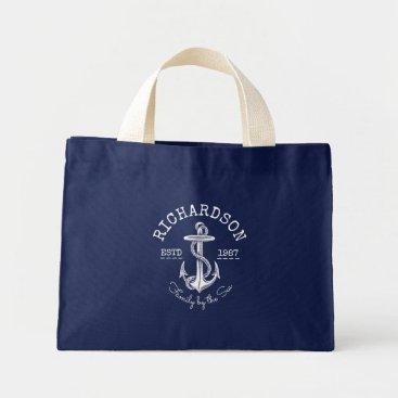 Beach Themed Monogram Vintage White Nautical Anchor Marine Logo Mini Tote Bag