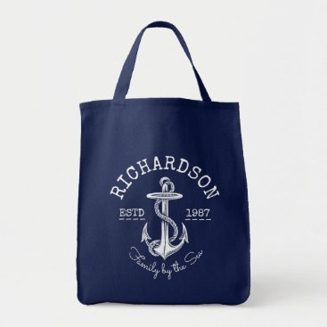 Beach Themed Monogram Vintage White Nautical Anchor Marine Logo Tote Bag