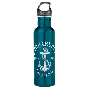 Beach Themed Monogram Vintage White Nautical Anchor Marine Logo Water Bottle