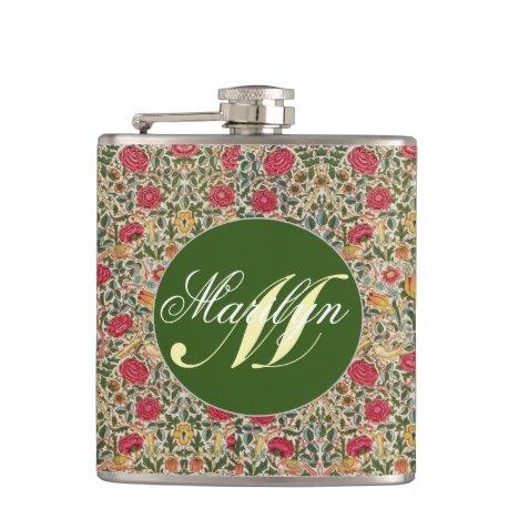 Monogram Vintage William Morris Rose Floral Flask