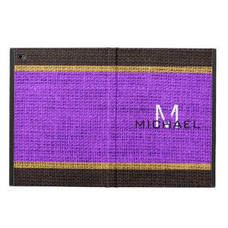 Monogram Violet Burlap Linen Rustic Jute Powis iPad Air 2 Case