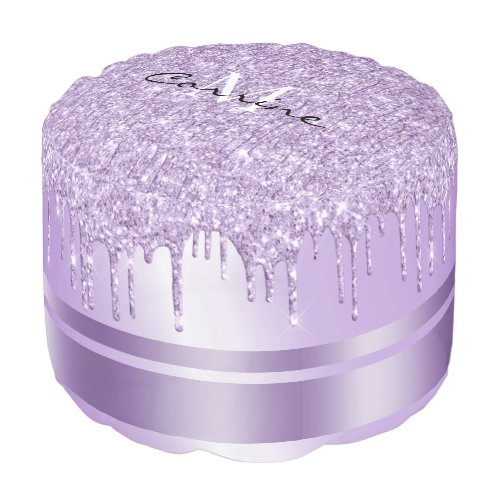 Monogram Violet Purple Glitter Drip Ottoman Pod