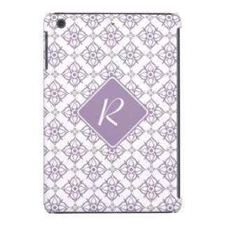 Monogram Violet Star Damask on White iPad Mini Retina Case