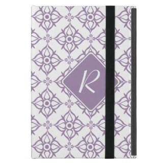 Monogram Violet Star Damask on White Cover For iPad Mini