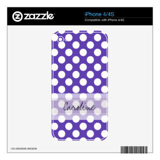 Monogram Violet White Cute Chic Polka Dot Pattern Skin For The iPhone 4