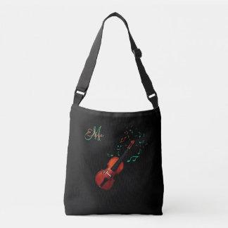 Monogram Violin and Music Notes Tote Bag