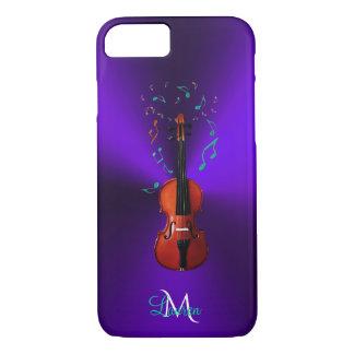 Monogram Violin Music Notes Purple iPhone 7 Case