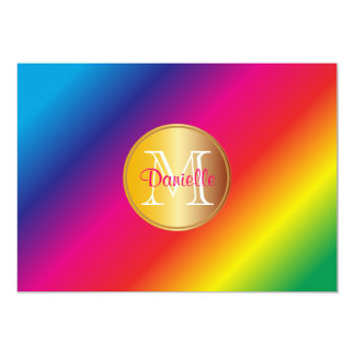 Monogram Vivid Colorful Rainbow Spectrum Gradation Card