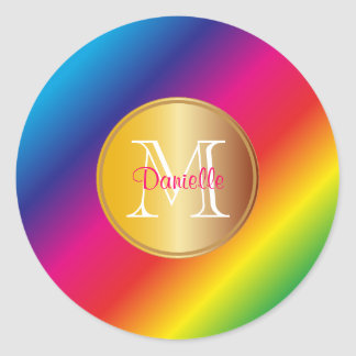 Monogram Vivid Colorful Rainbow Spectrum Gradation Classic Round Sticker