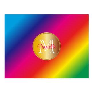 Monogram Vivid Colorful Rainbow Spectrum Gradation Postcard