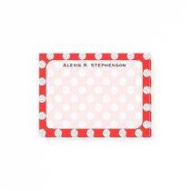 Monogram Volleyball Balls Red Post-it Notes