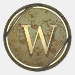 monogram_w classic round sticker
