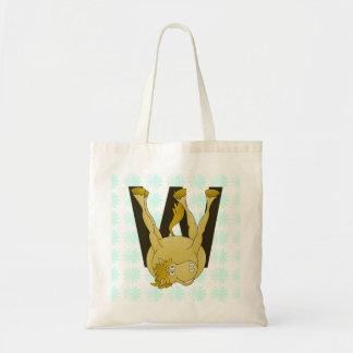 Monogram W Funny Pony Personalised Tote Bag