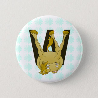 Monogram W Funny Pony Personalized Button