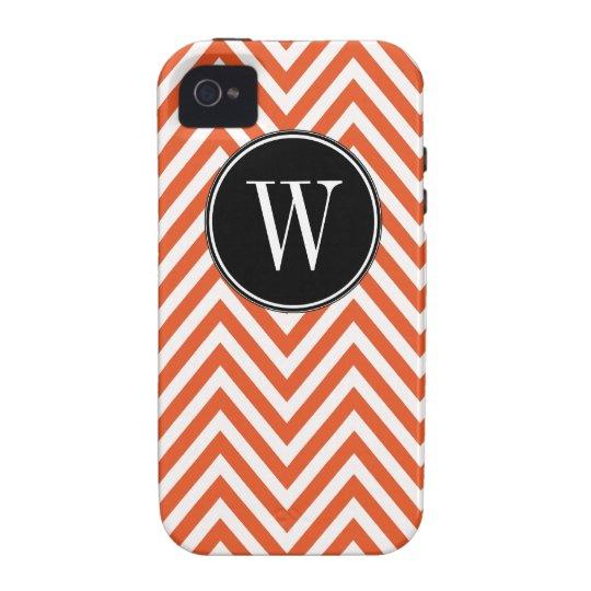 Monogram W Orange White Chevron Zig Zag Pattern Vibe iPhone 4 Case